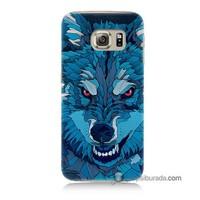 Teknomeg Samsung Galaxy S6 Kılıf Kapak Mavi Kurt Baskılı Silikon