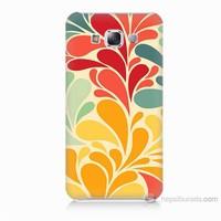 Teknomeg Samsung Galaxy E7 Çiçekler Baskılı Silikon Kılıf