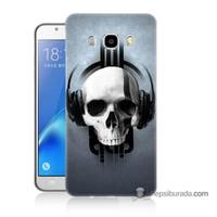 Teknomeg Samsung J7 2016 Kılıf Kapak Müzik Dinleyen Kurukafa Baskılı Silikon