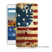 Teknomeg General Mobile 4G Android One Kılıf Kapak Amerika Bayrağı Baskılı Silikon