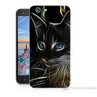 Teknomeg Turkcell T70 Dumanlı Kedi Baskılı Silikon Kapak Kılıf