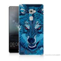 Teknomeg Huawei Ascend Mate S Mavi Kurt Baskılı Silikon Kılıf