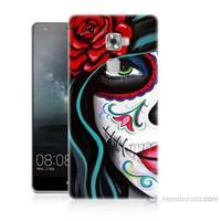 Teknomeg Huawei Ascend Mate S Çiçekli Kız Baskılı Silikon Kılıf