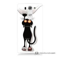 Teknomeg Lg G3 Mini Kılıf Kapak Kara Kedi Baskılı Silikon