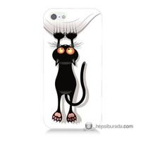 Teknomeg İphone Se Kılıf Kapak Kara Kedi Baskılı Silikon