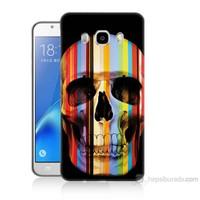 Teknomeg Samsung Galaxy J7 2016 Kapak Kılıf Renkli Kurukafa Baskılı Silikon
