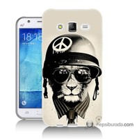 Teknomeg Samsung Galaxy J7 Kılıf Kapak Barışçı Aslan Baskılı Silikon