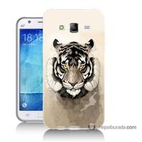 Teknomeg Samsung Galaxy J7 Kapak Kılıf Beyaz Aslan Baskılı Silikon