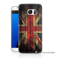 Teknomeg Samsung Galaxy S7 Edge Kapak Kılıf İngiliz Bayrağı Baskılı Silikon