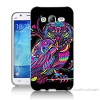 Teknomeg Samsung Galaxy J5 Kapak Kılıf Renkli Baykuş Baskılı Silikon