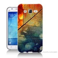Teknomeg Samsung Galaxy J5 Kapak Kılıf Yaprak Baskılı Silikon