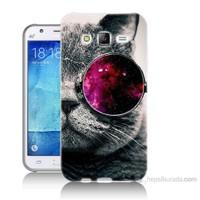 Teknomeg Samsung Galaxy J5 Kapak Kılıf Kedi Baskılı Silikon