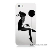 Teknomeg İphone 5S Kapak Kılıf Balonlu Kız Baskılı Silikon