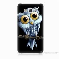 Teknomeg Samsung Galaxy E7 Kapak Kılıf Beyaz Baykuş Baskılı Silikon