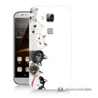 Teknomeg Huawei G8 Kapak Kılıf Kediler Baskılı Silikon