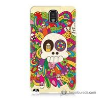 Teknomeg Samsung Galaxy Note 3 Kapak Kılıf Örgülü Kurukafa Baskılı Silikon