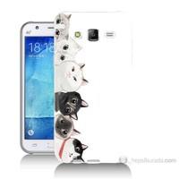 Teknomeg Samsung Galaxy J7 Kapak Kılıf Kediler Baskılı Silikon