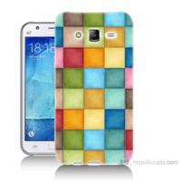 Teknomeg Samsung Galaxy J7 Kapak Kılıf Renkli Kareler Baskılı Silikon