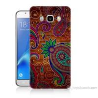 Teknomeg Samsung Galaxy J7 2016 Kapak Kılıf Çiçek Deseni Baskılı Silikon