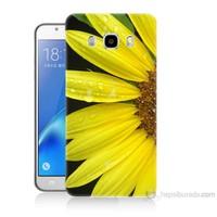 Teknomeg Samsung Galaxy J7 2016 Kapak Kılıf Sarı Çiçek Baskılı Silikon
