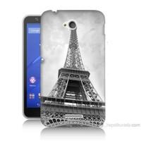Teknomeg Sony Xperia E4G Eyfel Kulesi Baskılı Silikon Kılıf