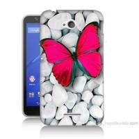 Teknomeg Sony Xperia E4G Kelebek Baskılı Silikon Kılıf