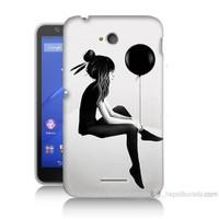 Teknomeg Sony Xperia E4G Balonlu Kız Baskılı Silikon Kılıf