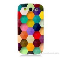Teknomeg Samsung Galaxy S3 Renkli Petek Baskılı Silikon Kılıf