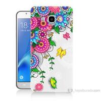Teknomeg Samsung Galaxy J5 2016 Kapak Kılıf Çiçek Ve Kelebek Baskılı Silikon