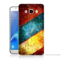 Teknomeg Samsung Galaxy J5 2016 Kapak Kılıf Renkli Metal Baskılı Silikon