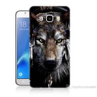 Teknomeg Samsung Galaxy J5 2016 Kapak Kılıf Kızıldereli Kurt Baskılı Silikon