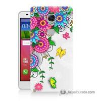 Teknomeg Huawei Gr5 Kapak Kılıf Çiçek Ve Kelebek Baskılı Silikon