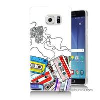 Teknomeg Samsung Galaxy Note 5 Kapak Kılıf Kasetler Baskılı Silikon