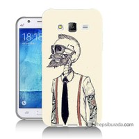 Teknomeg Samsung Galaxy J5 Kapak Kılıf Dövmeli İskelet Baskılı Silikon