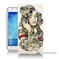 Teknomeg Samsung Galaxy J5 Kapak Kılıf Müzik Aşkı Baskılı Silikon