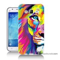 Teknomeg Samsung Galaxy J5 Kılıf Kapak Renkli Aslan Baskılı Silikon