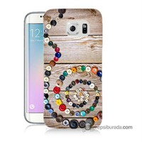 Teknomeg Samsung Galaxy S6 Edge Kapak Kılıf Düğmeler Baskılı Silikon