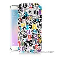 Teknomeg Samsung Galaxy S6 Edge Plus Kılıf Kapak Renkli Harfler Baskılı Silikon