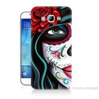 Teknomeg Samsung Galaxy A8 Çiçekli Kız Baskılı Silikon Kılıf