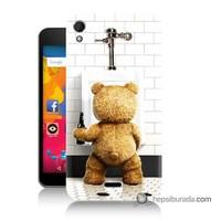 Teknomeg Casper Via V3 Kılıf Kapak Tedy Bear Baskılı Silikon