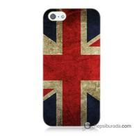 Teknomeg İphone 5S Kapak Kılıf İngiltere Bayrağı Baskılı Silikon