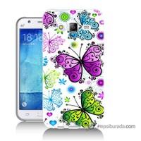 Teknomeg Samsung Galaxy J5 Kapak Kılıf Renkli Kelebekler Baskılı Silikon