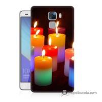 Teknomeg Huawei Honor 7 Kapak Kılıf Mumlar Baskılı Silikon