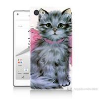 Teknomeg Sony Xperia Z5 Premium Papyonlu Kedi Baskılı Silikon Kılıf