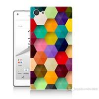 Teknomeg Sony Xperia Z5 Premium Renkli Petek Baskılı Silikon Kılıf