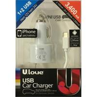 Ulove YC02-A -3400mA 2 USB port + iPhone 5/6 Kablolu - YC02-A