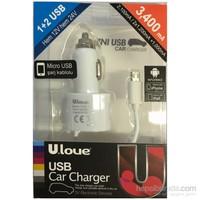 Ulove YC02-M -3400mA 2 USB port + MicroUSB Kablolu - YC02-M