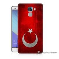 Teknomeg Huawei Honor 7 Kılıf Kapak Türkiye Bayrağı Baskılı Silikon