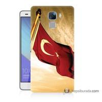 Teknomeg Huawei Honor 7 Kılıf Kapak Türk Bayrağı Baskılı Silikon