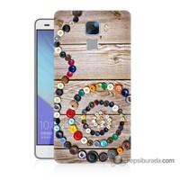 Teknomeg Huawei Honor 7 Kapak Kılıf Düğmeler Baskılı Silikon